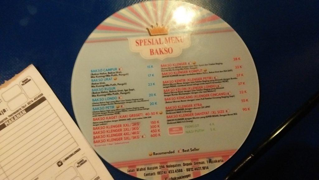 daftar menu dan harga bakso klenger jogja